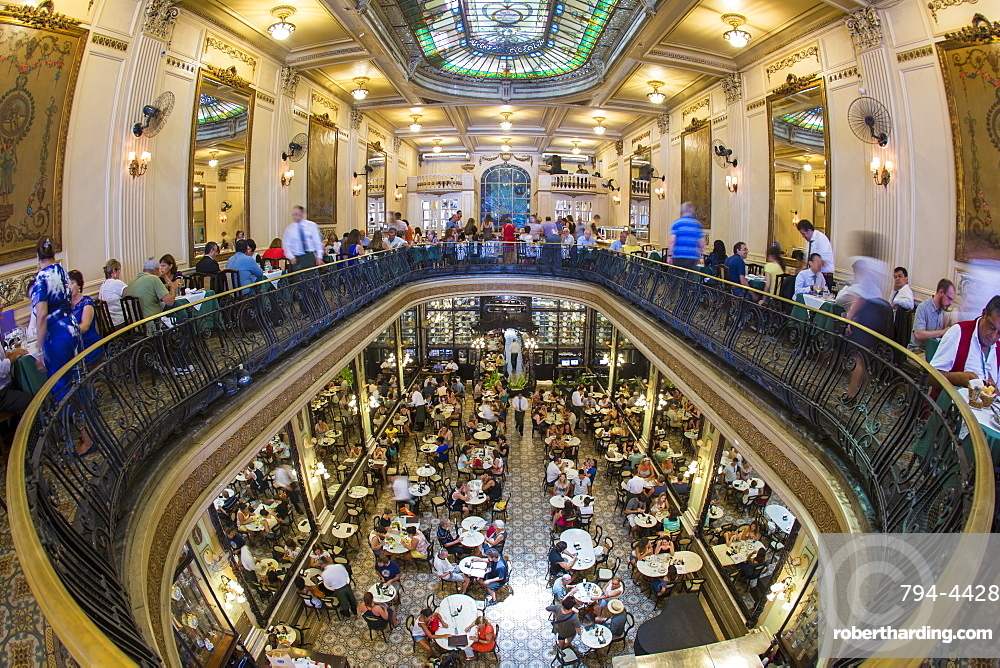 Confeitaria Colombo, Art Nouveau architecture inside the traditional confectioner and restaurant in downtown Rio de Janeiro, Brazil, South America