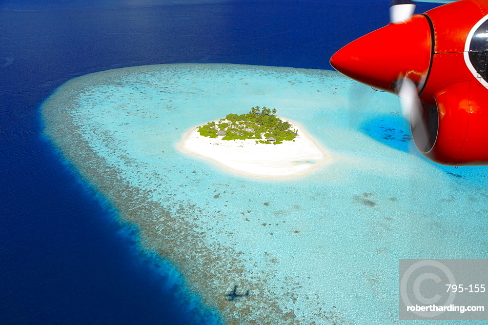 View from aeroplane of Male Atoll, Maldives, Indian Ocean, Asia