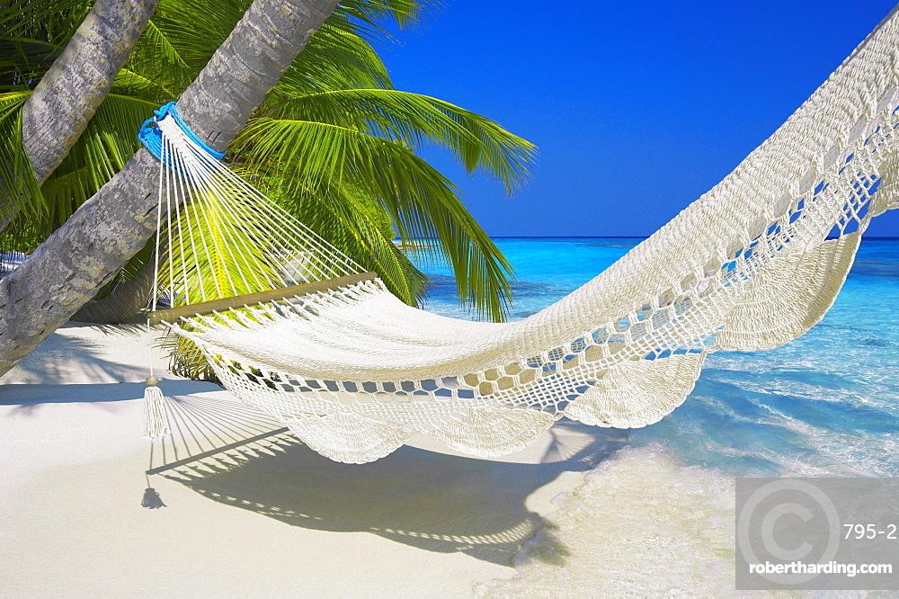 Empty hammock on beach, Maldives, Indian Ocean, Asia