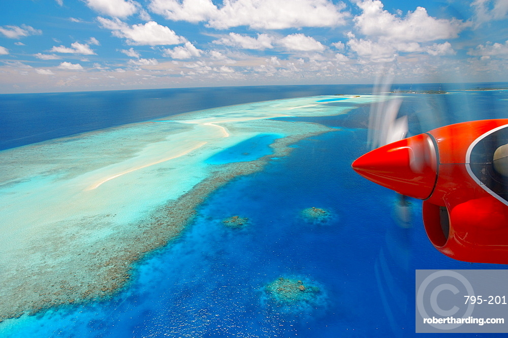View from aeroplane, Male Atoll, Maldives, Indian Ocean, Asia