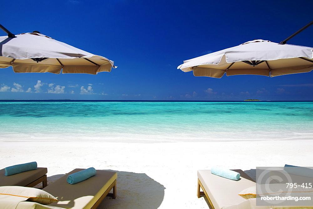 Deck chairs and tropical beach, Maldives, Indian Ocean, Asia