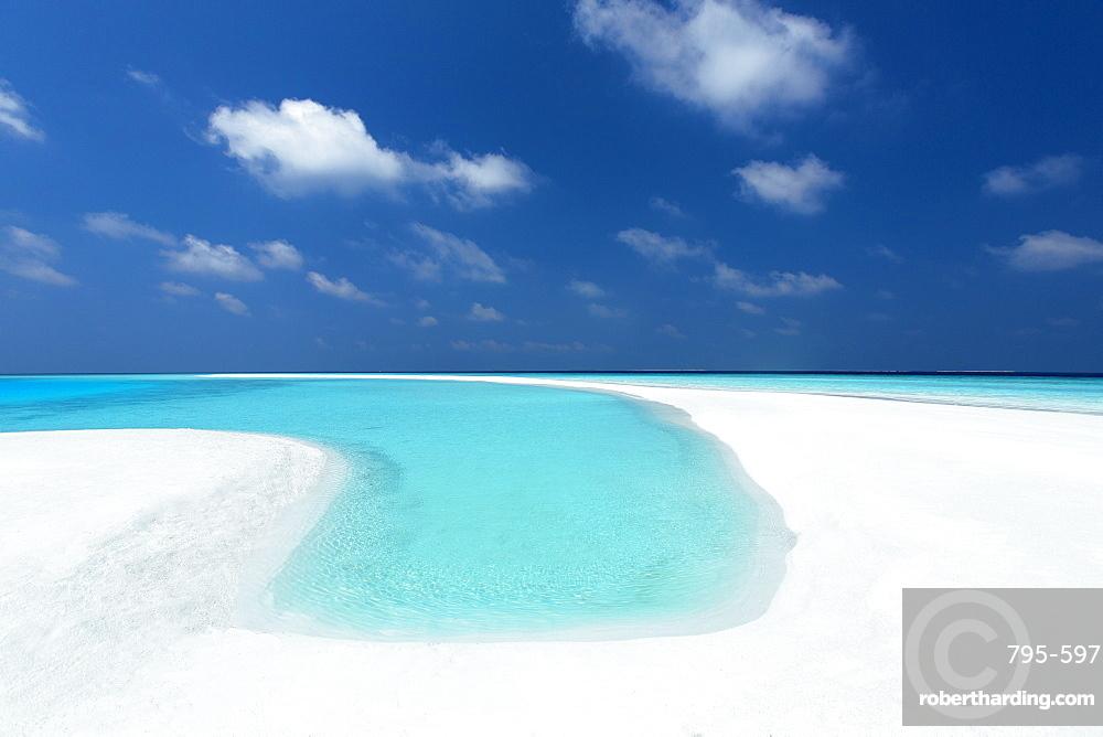 Sandbank and tropical lagoon, Maldives, Indian Ocean, Asia