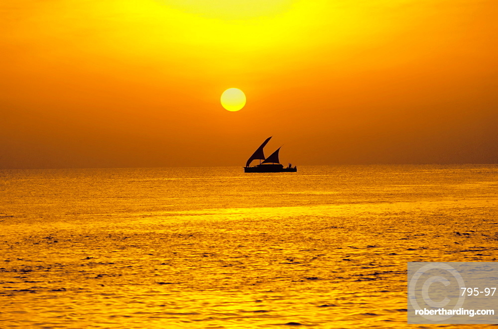 Traditional dhoni sailing boat at sunset, Maldives, Indian Ocean, Asia