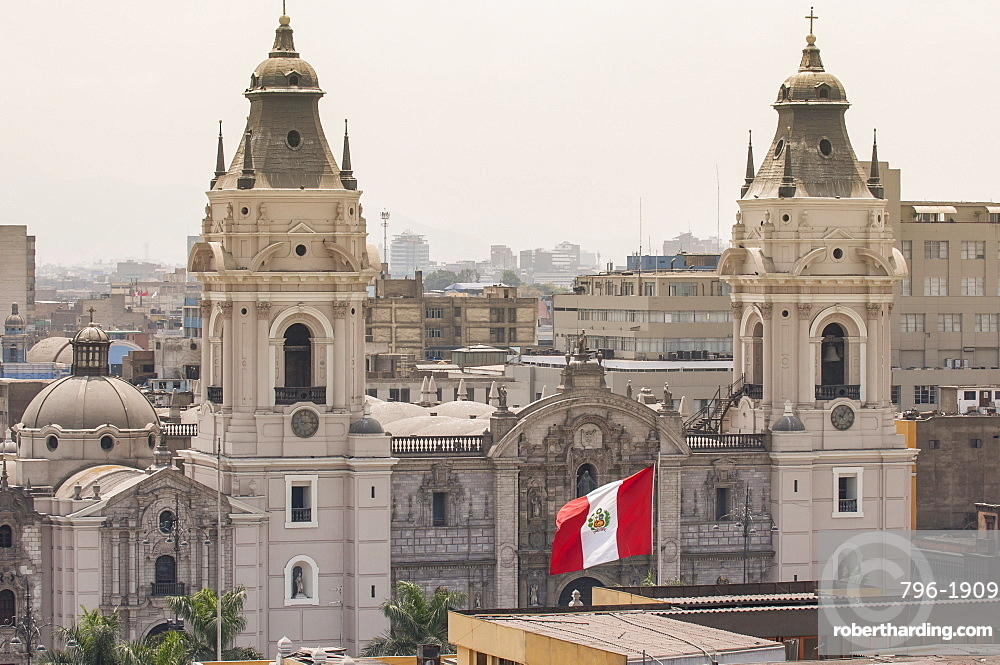 Cathedral of Lima from the steeple of The Church Santo Domingo, Lima, Peru, South America