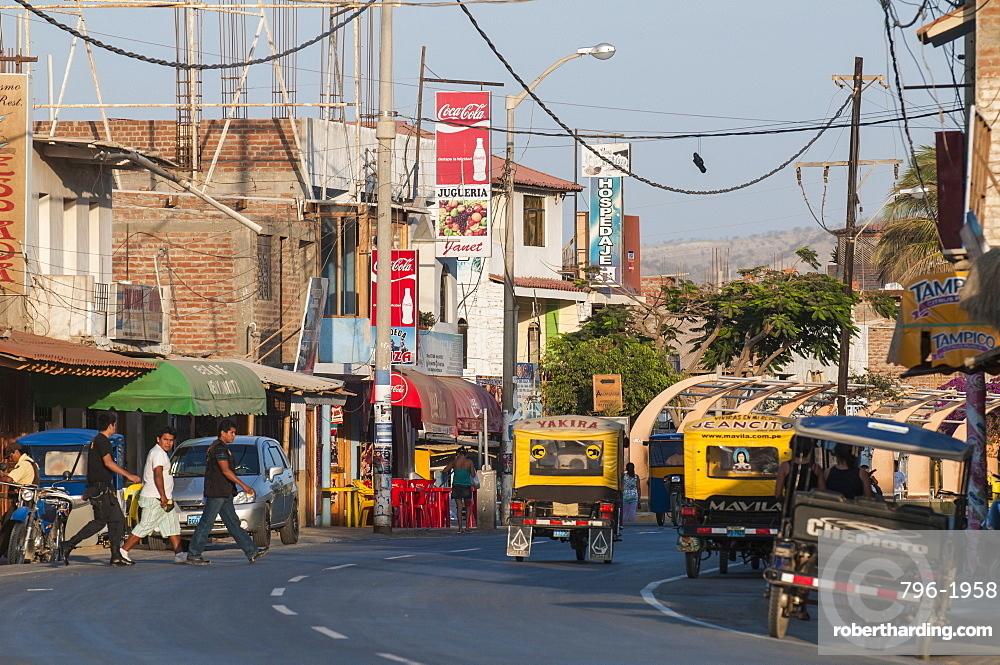 Main street in Mancora, Peru, South America