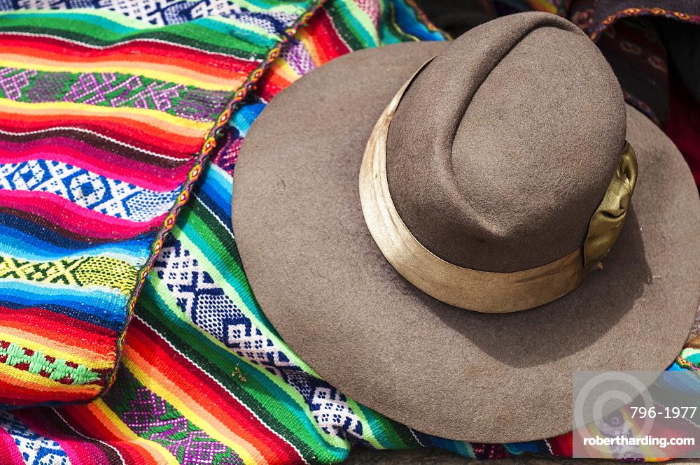Inca woman's hat and blanket, Chinchero, Peru, South America