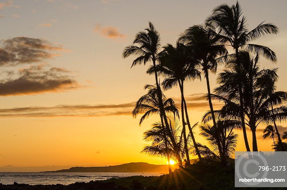 Sunset at Poipu Beach, Kauai, Hawaii, United States of America, Pacific