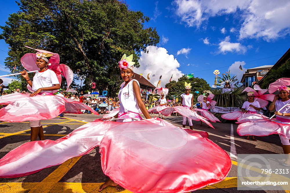 Street parade in the International Carnival Seychelles, in Victoria, Mahe, Republic of Seychelles, Indian Ocean, Africa