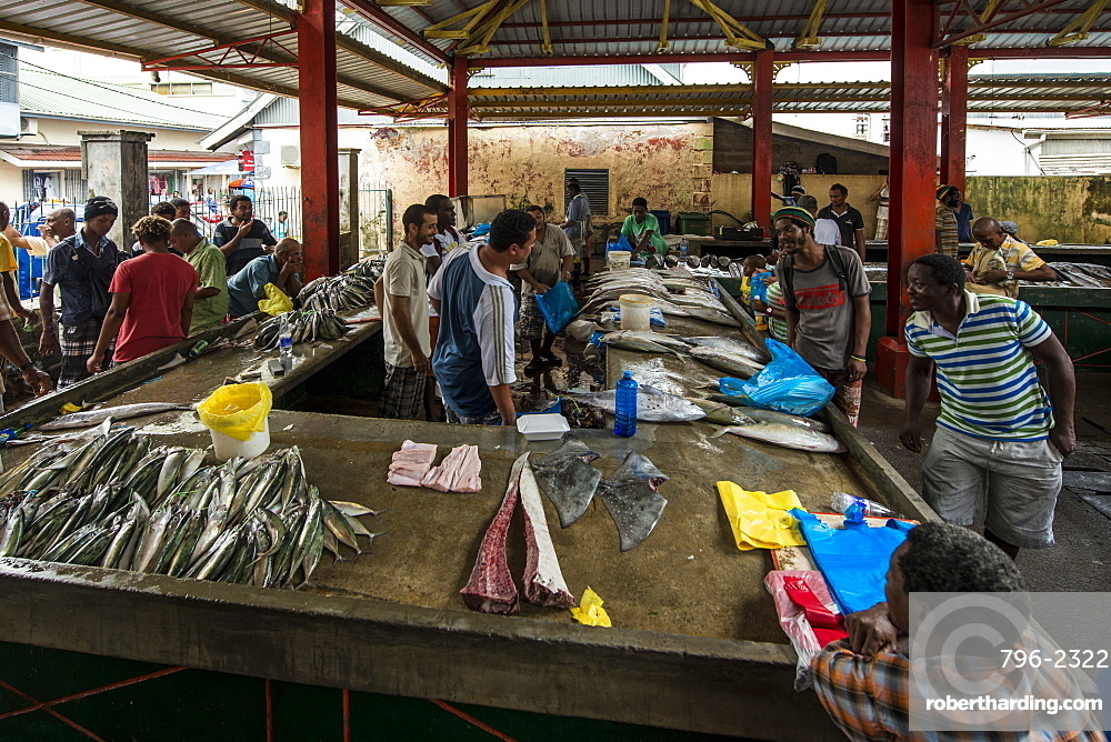 Fish at the Sir Selwyn Selwyn-Clarke Market, Victoria, Mahe, Republic of Seychelles, Indian Ocean, Africa