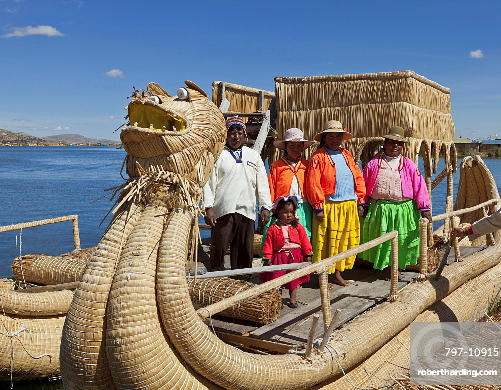Peru, Puno, Residents of one of the many islands in Lake Titicaca.