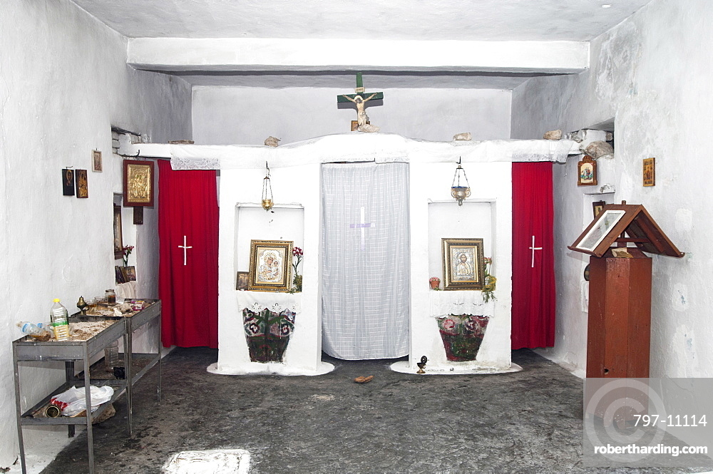 Albania, near Dhermi, Interior of a small village Greek Orthodox church.