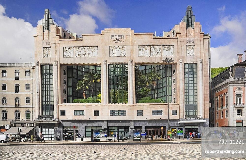 Portugal, Estremadura, Lisbon, Art Deco exterior of the former Eden theatre now a hotel.