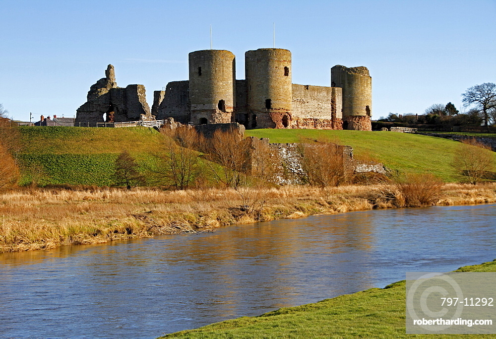Wales, Denbighshire, Rhuddlan, Rhuddlan Castle overlooking the river Clwyd built in 1277 by King Edward 1 following the first Welsh war.
