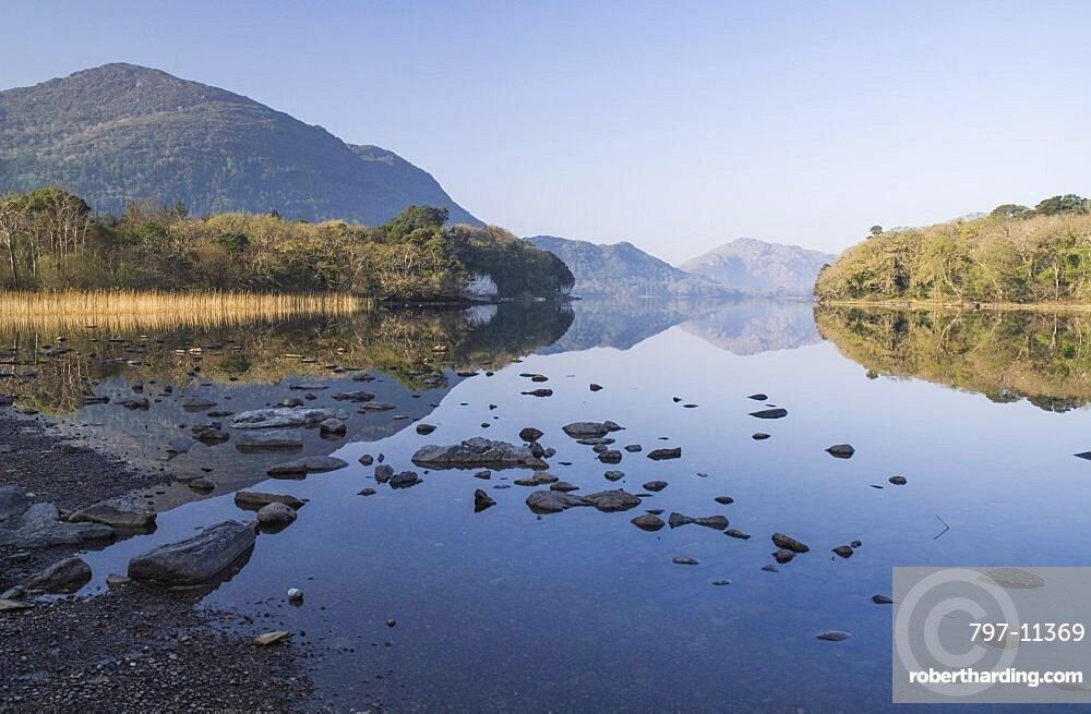 Ireland, County Kerry, Killarney, Muckross Lake with Torc Mountain.