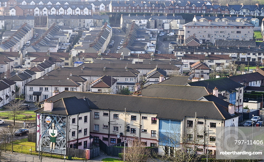 Ireland, North, Derry, View of the Bogside area from the city walls.