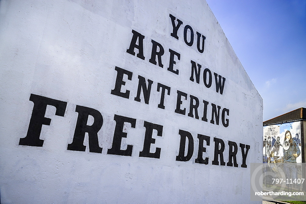 Ireland, North, Derry, Bogside Nationalist mural 'You Are Now Entering Free Derry' on old gable wall.