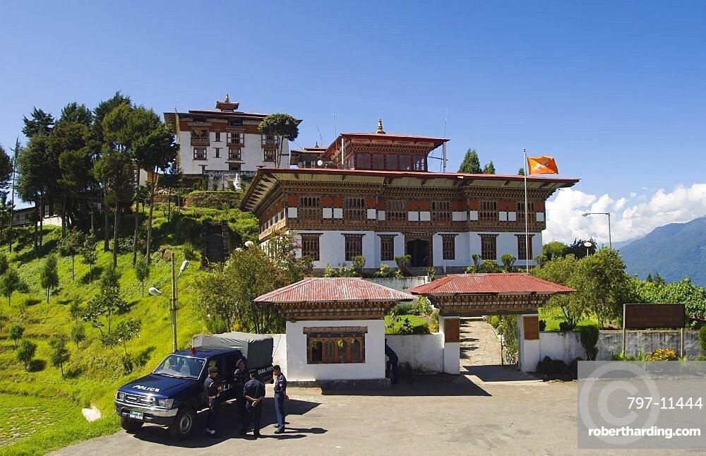 Bhutan, Zhemgang Dzong , Zhemgang Dzong with Police parked at entrance.