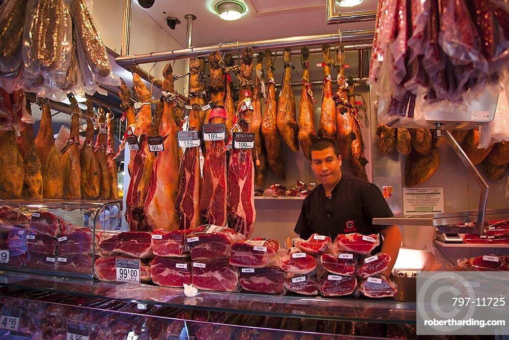 Spain, Catalonia, Barcelona, Interior of La Boqueria market on La Rambla.