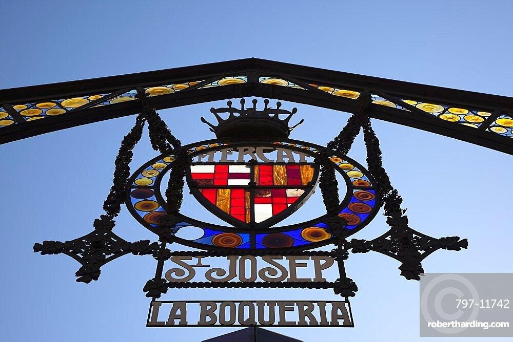 Spain, Catalonia, Barcelona, Ornate sign of La Boqueria market on La Rambla.