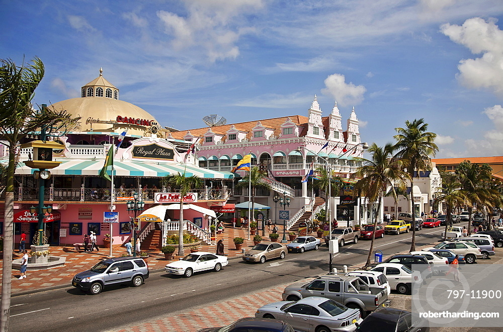 Dutch Antilles, Aruba, Oranjestad, City Centre showing colonial buildings.