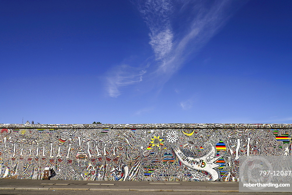 Germany, Berlin, The East Side Gallery, a 1.3 km long section of the Berlin Wall.