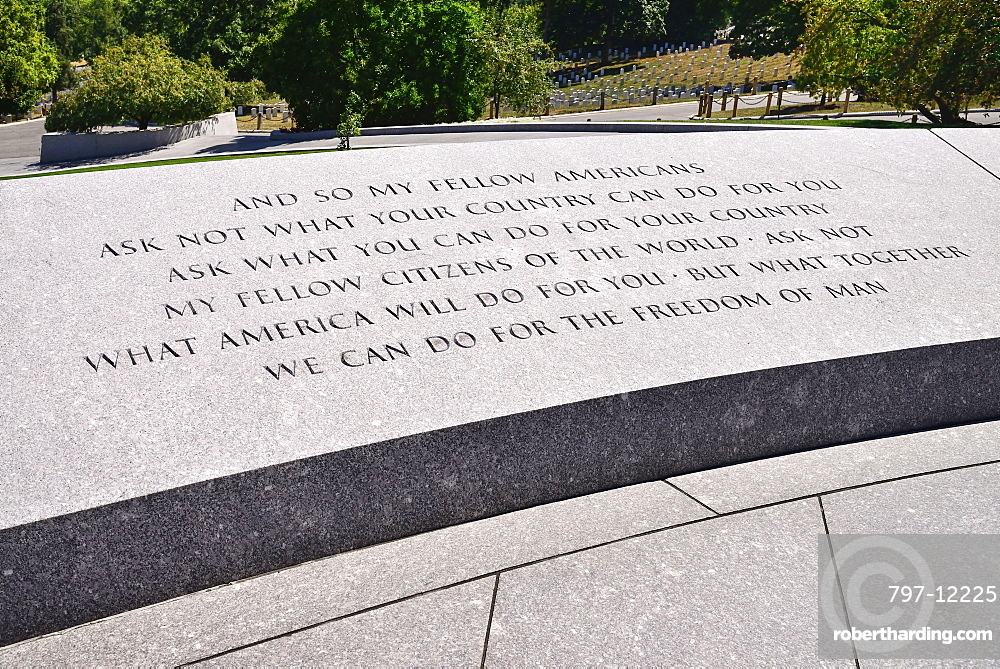 USA, Washington DC, Arlington National Cemetery, Grave of President JF Kennedy with famous quotation on wall.