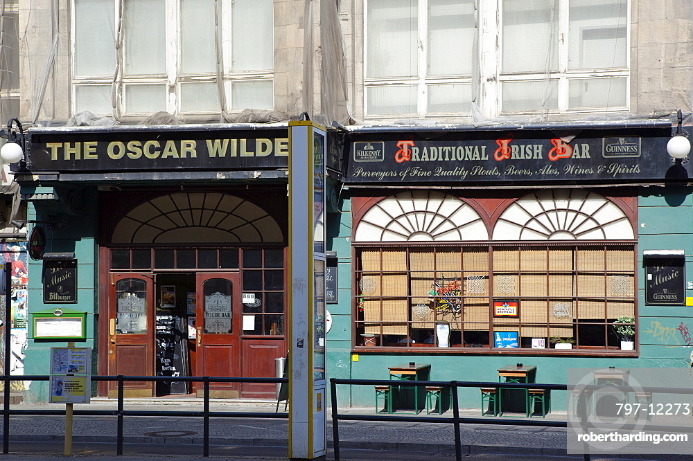 Germany, Berlin, Mitte, The exterior of the Oscar Wilde Bar on Friedrichstrasse.