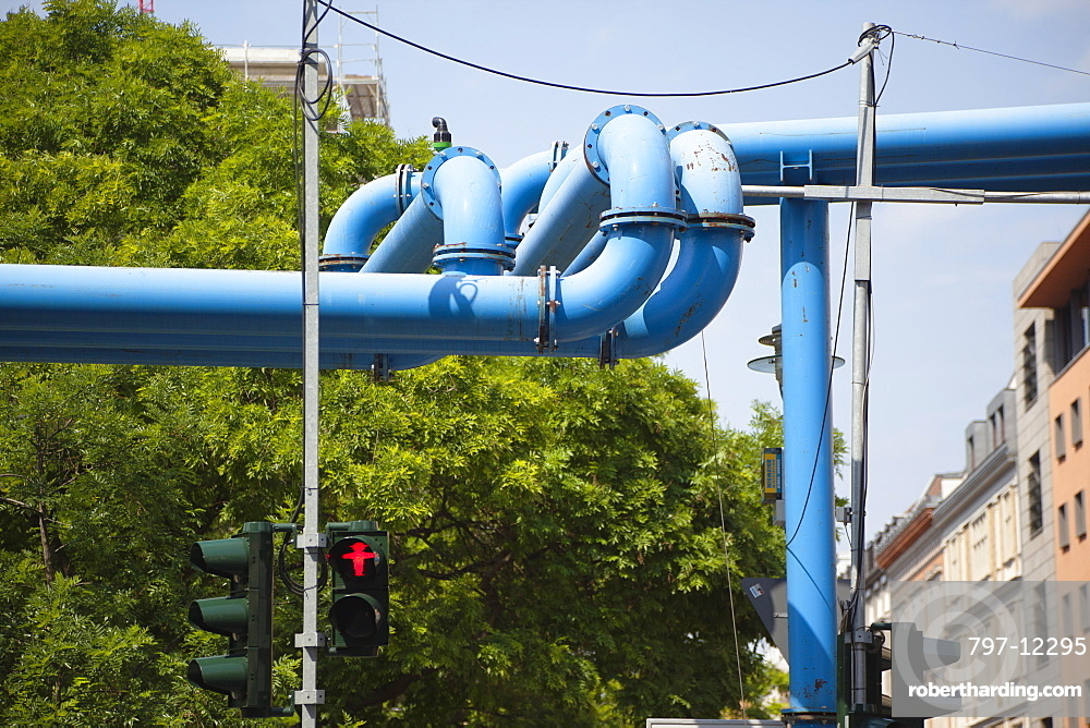 Germany, Berlin, Mitte, Pipework remving ground water for the many construction sites.