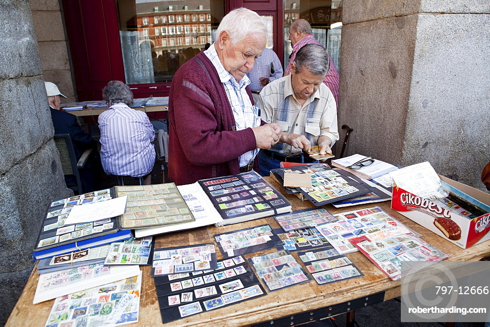 Spain Madrid Stamp Collectors In Stock Photo