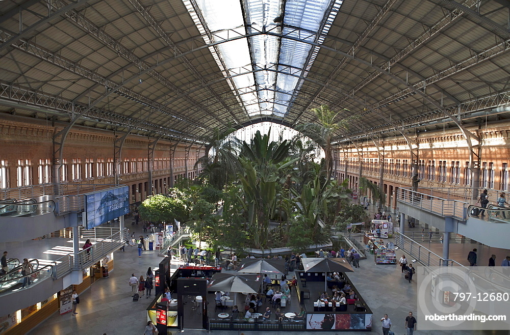 Spain, Madrid, The botanical garden inside the terminus of the Atocha Railway Station.