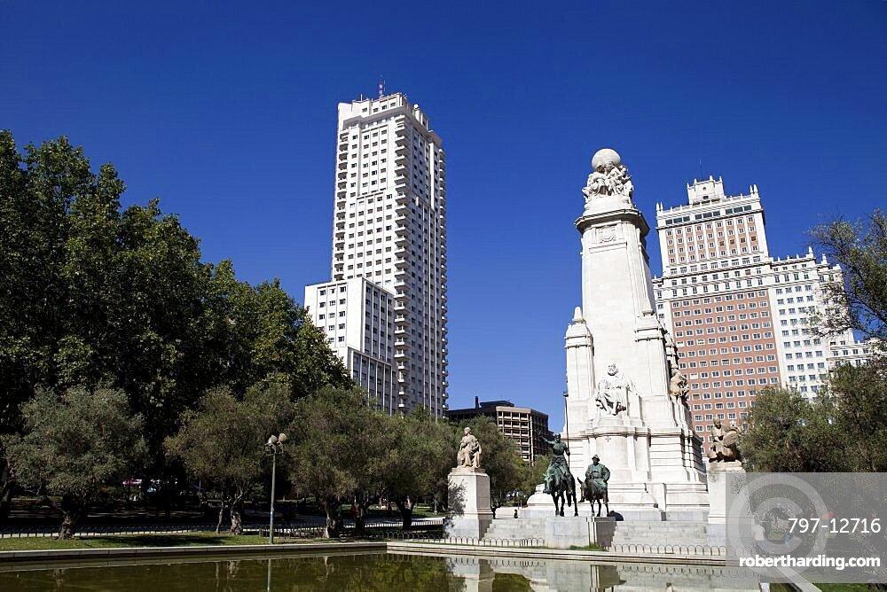 Spain, Madrid, Statues of Cervantes Don Quixote and Sancho Panza in the Plaza de Espana.