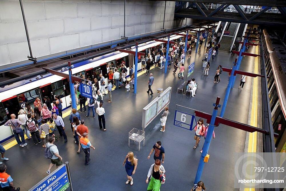 Spain, Madrid, Principe Pio Metro Station.