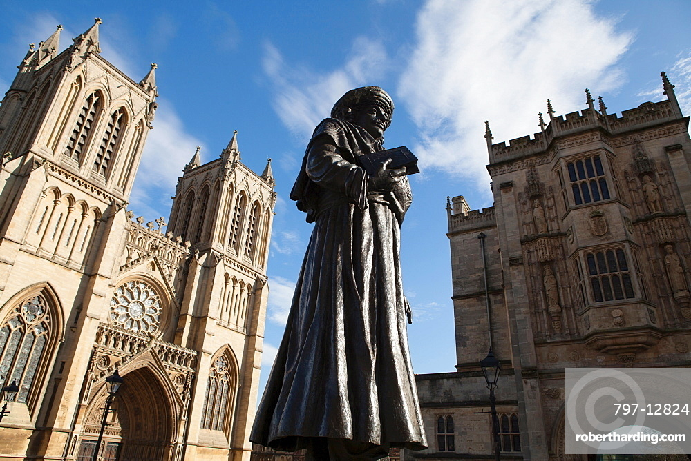 England, Bristol, Statue of Raja Ram Mohan Roy in front of the Cathedral.