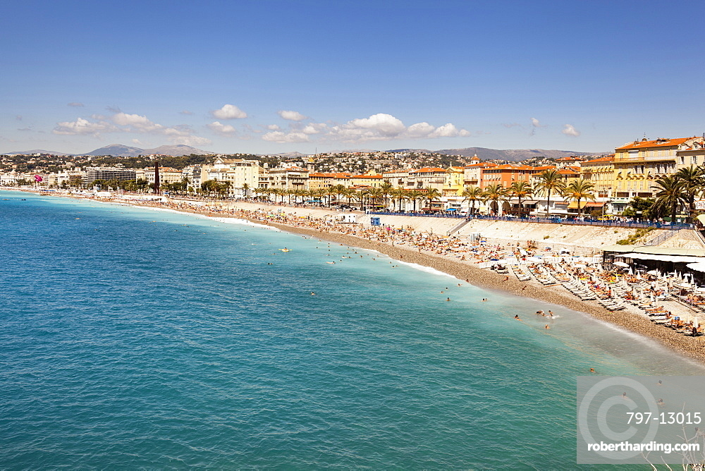 France, Nice, Baie Des Anges, Promenade Des Anglais, and beach.