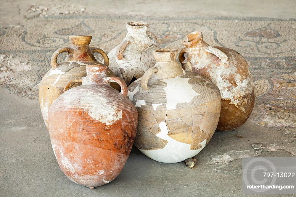 Romania, Constanta, Ceramic pots in the Roman Mosaic Museum, also known as the Roman Edifice.