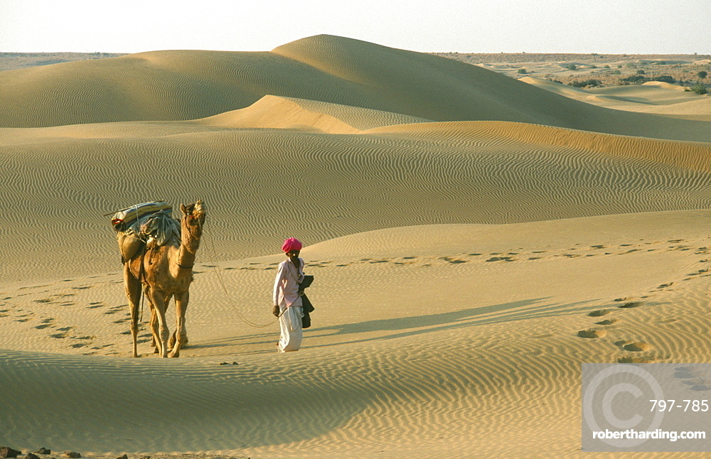 INDIA Rajasthan Jaisalmer Thar Desert.  Man walking with camel over dunes leaving prints in the sand.