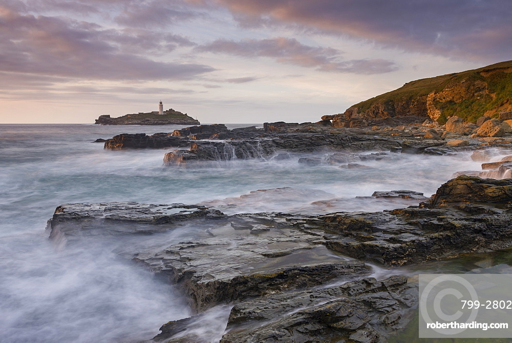 Rocky coast near Godrevy Lighthouse, St. Ives Bay, Cornwall, England, United Kingdom, Europe