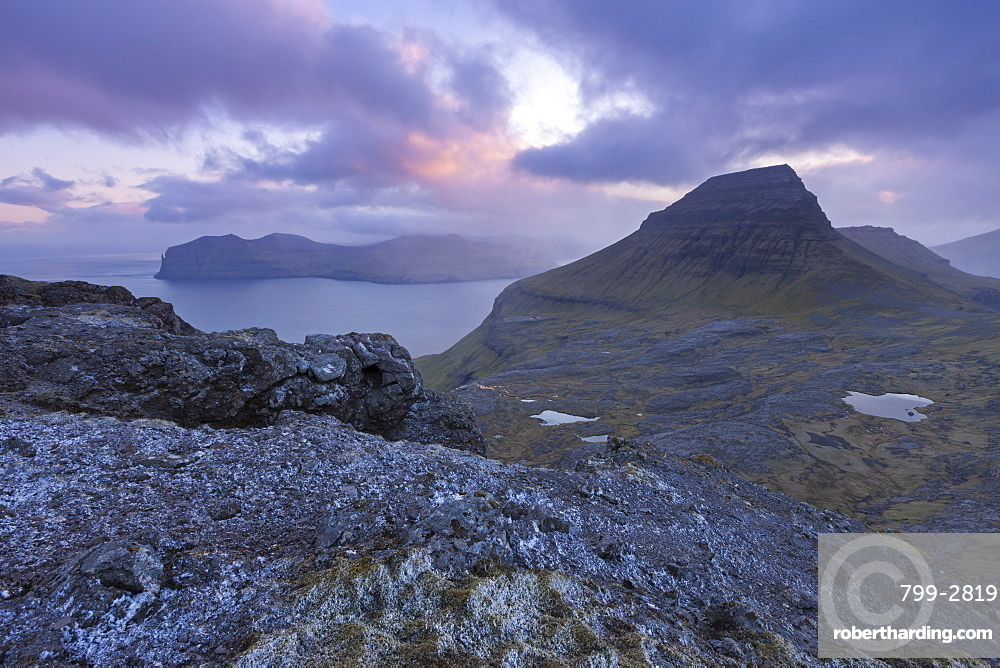 Sunset over the rugged mountains of Streymoy, Faroe Islands, Denmark, Europe