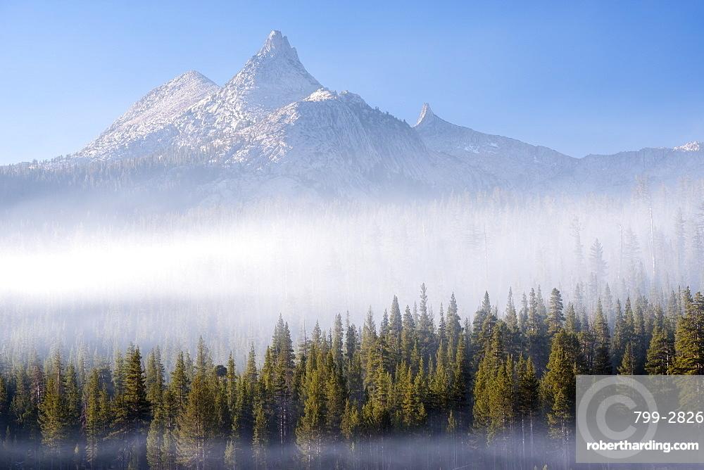 Mist surrounding the forest below Unicorn Peak in autumn, Yosemite National Park, UNESCO World Heritage Site, California, United States of America, North America