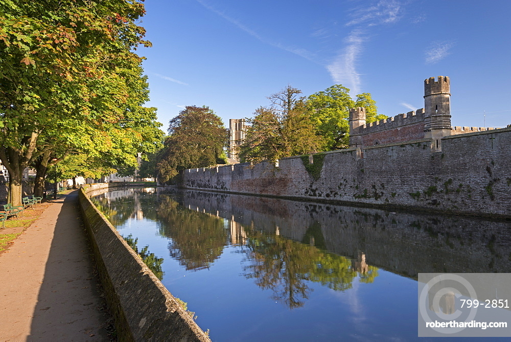 The Bishop's Palace and moat in the cathedral city of Wells, Somerset, England, United Kingdom, Europe