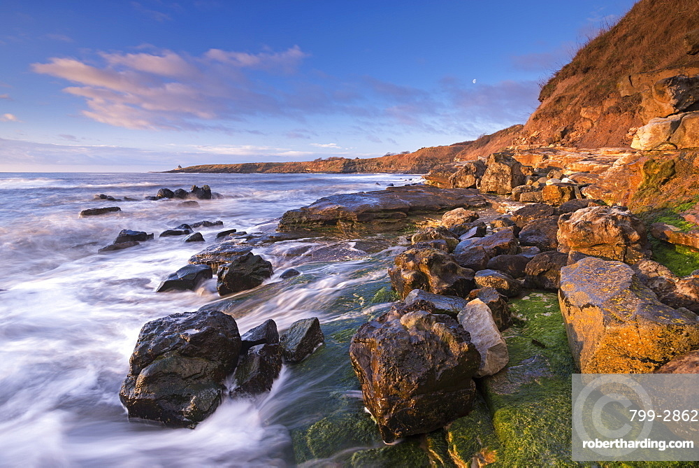 Rocky coastline at Cullernose Point on the Northumberland coast, Northumberland, England, United Kingdom, Europe