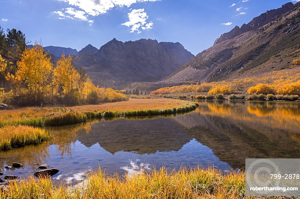 Glorious fall colours surround North Lake in the Eastern Sierras, near Bishop, California, United States of America, North America