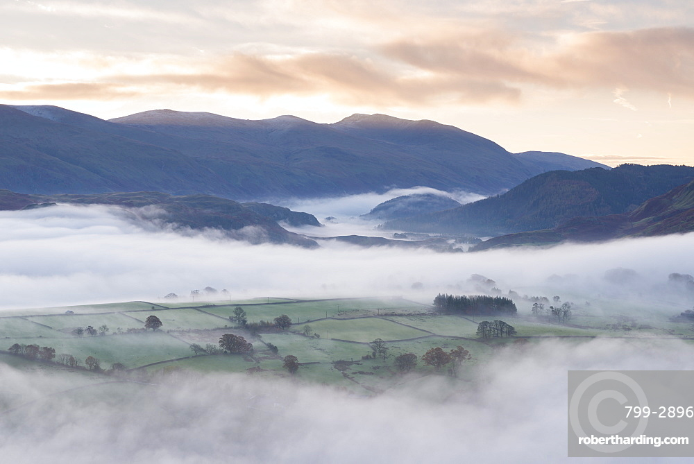 Mist covered rolling landscape at dawn in autumn, Lake District, Cumbria, England, United Kingdom, Europe