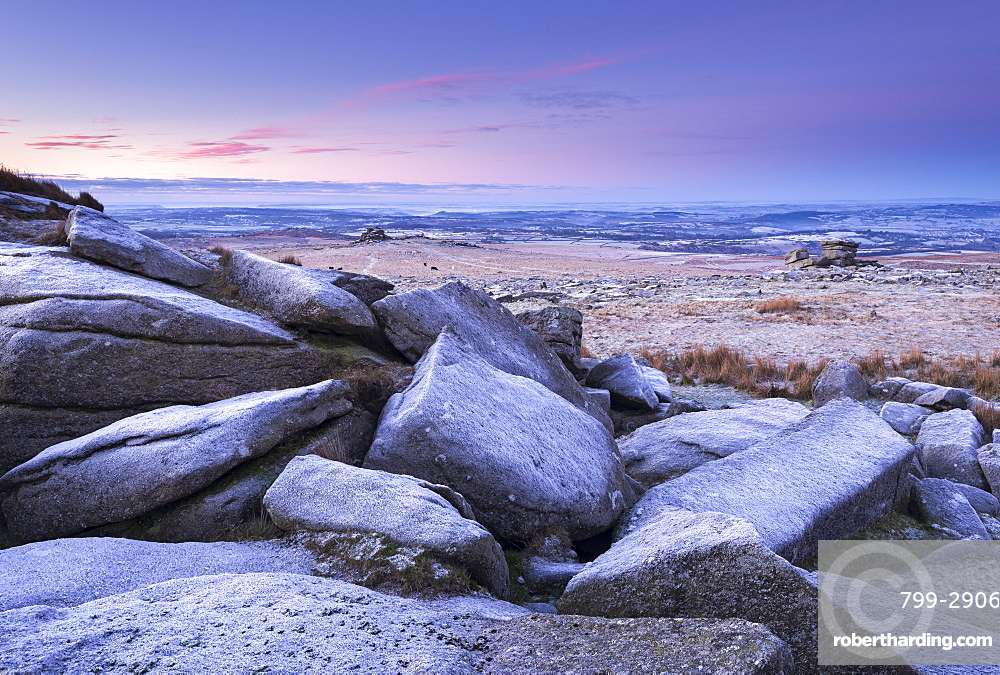 Frost covered granite boulders in winter at Great Staple Tor in Dartmoor National Park, Devon, England, United Kingdom, Europe