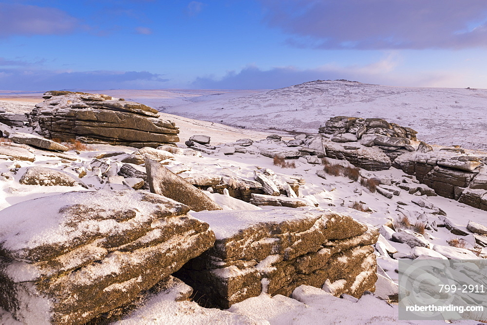 Snow covered moorland at Great Staple Tor in winter, Dartmoor National Park, Devon, England, United Kingdom, Europe