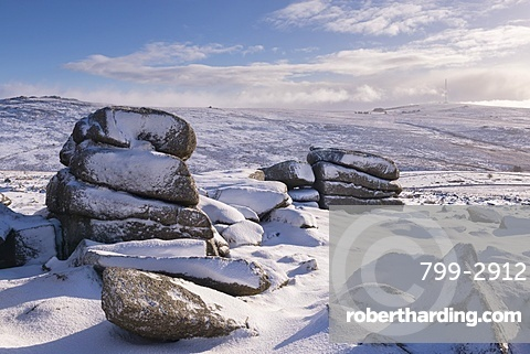 Snow covered moorland at Roos Tor, Dartmoor National Park, Devon, England, United Kingdom, Europe