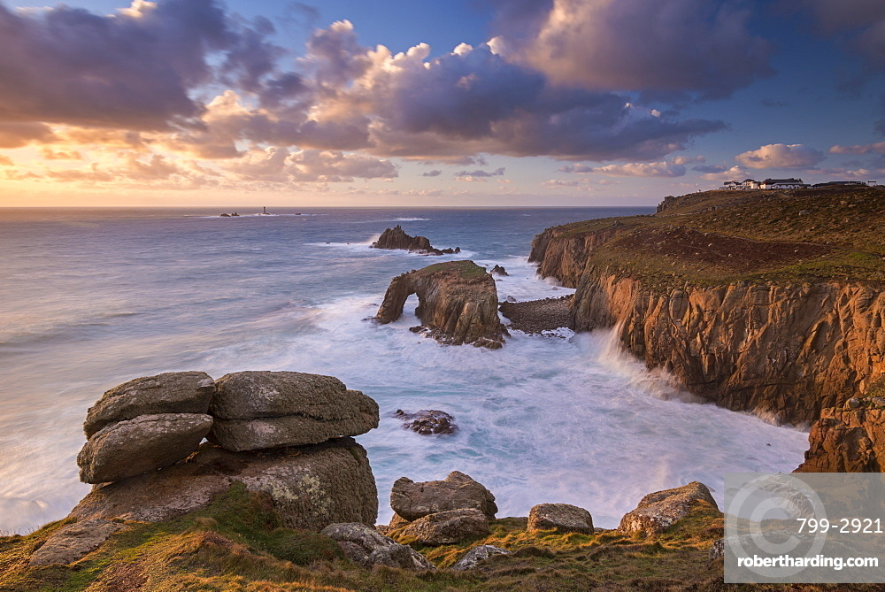 Dramatic coastal scenery in winter at Land's End in Cornwall, England, United Kingdom, Europe