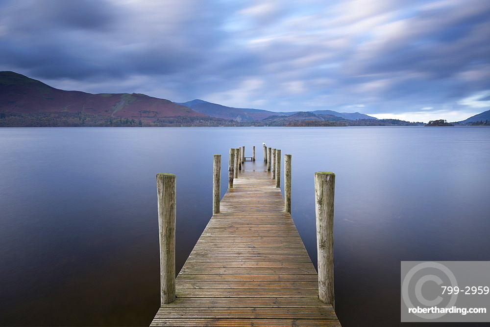 Wooden jetty at Ashness on Derwent Water, Lake District National Park, Cumbria, England, United Kingdom, Europe