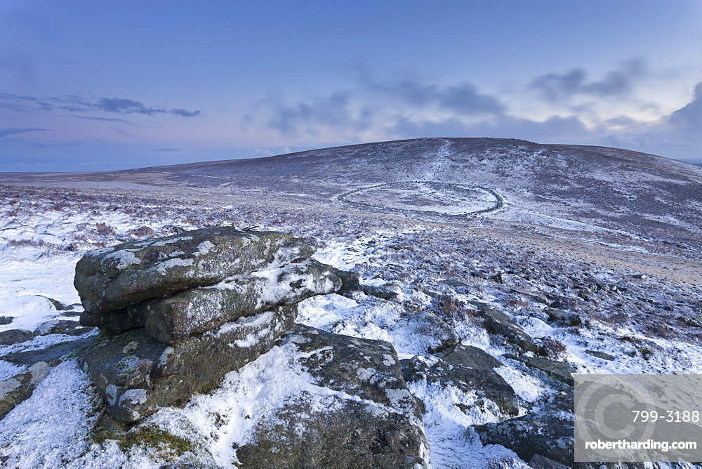 Snow dusted Bronze Age settlement of Grimspound from Hookney Tor, Dartmoor, Devon, England, United Kingdom, Europe