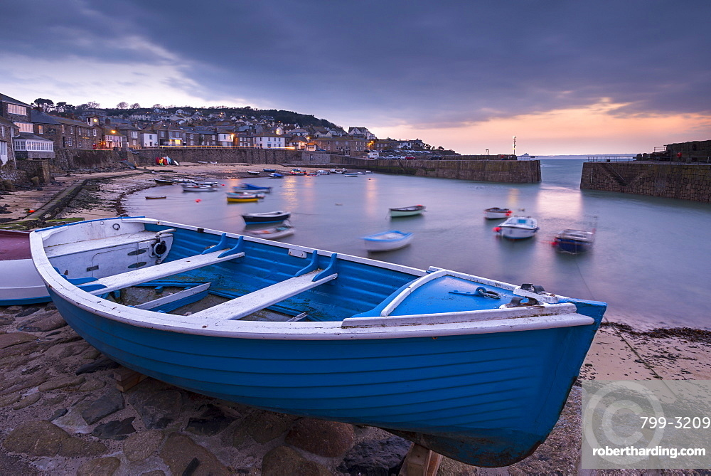 Mousehole harbour at dawn, Mousehole, Cornwall, England, United Kingdom, Europe